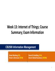 CB2500 - Week13 - Internet of Things; Course Summary; Exam Information.pdf