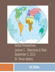 Lecture 1 Sept 5 2013 Objectives and Tools of Geography