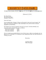 Fitness Club Letter