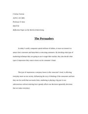 The Persuaders: Reflection Paper