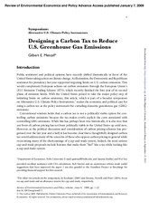 design a carbon tax to reduce greenhouse gas