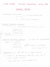 Nonlinear Programming Midterm Review