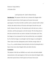 AST 2011 - Lab 4 - Earth's Orbital Velocity - Intro and Conclusion