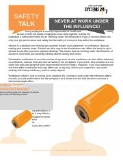 13094145067966440204 Never under the influence Safety Talk.doc
