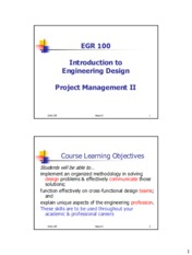 Week 09 Lecture Notes - Project Management II