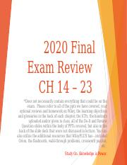 Haun ACC2020 Final Exam Review Slides CH  14 to  23