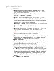 JUDAISM Journal Questions