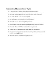 International Business Essay Topics