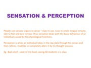 SENSATION & PERCEPTION (Presentation)