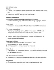 Chapter 28 inflation and unemployment study notes