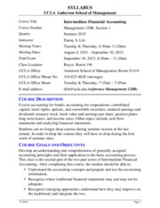 Syllabus for Management 120B Intermediate Accounting - Summer 2015
