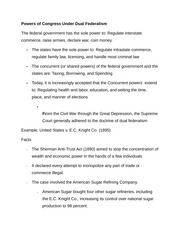 Notes on Powers of Congress Under Dual Federalism