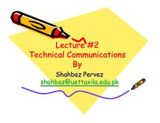 Lecture # 2 Technical COmmunication