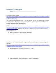 4 Pages Progressive Era Webquest Shortened