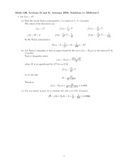 Exam 1 Solution Fall 2008 on Calculus with Analytic Geometry III