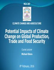 NCA 207 L3 POTENTIAL IMPACTS OF CLIMATE CHANGE ON GLOBAL  FOOD PRODUCTION, TRADE AND FOOD SECURITY.p