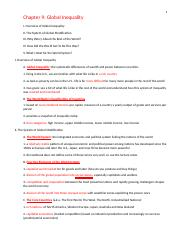 Chapter 9 global inequality lecture note outlines part 1