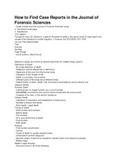 How to Find Case Reports in the Journal of Forensic Sciences