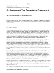 On Developmemt That Respects Environment