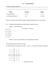inverse variation notes and homework