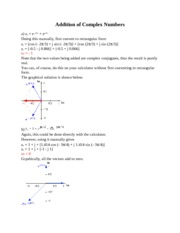 Notes - Addition of Complex Numbers