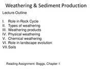 Lecture_1_Weathering & Sediment Production