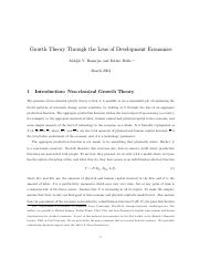 Growth Theory Through the Lens of Development Econ