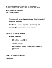 THE INTERNET THE WEB AND E