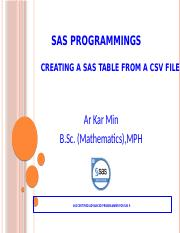 Creating a SAS Table from a CSV File