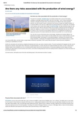 Risks associated with wind energy