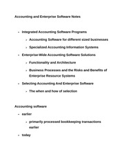 Accounting and Enterprise Software Notes