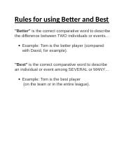 Rules for using Better and Best