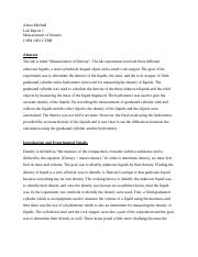 Chemistry Lab Report -Measurement of Density-.docx