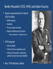 Benito Mussolini (1922-1945) and Italian Fascism