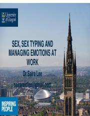 27 Sex, Sex Typing and Managing Emotions