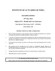(www.entrance-exam.net)-Institute of Actuaries Of India-Subject ST1- Health and Care Insurance Sampl