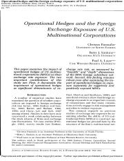 Operational Hedges and the Foreign exchange Exposure