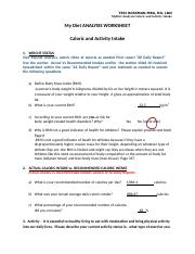 Caloric and Activity Intake MY DIET ANALYSIS.docx