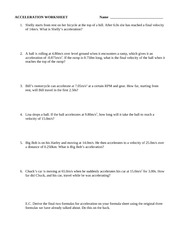 Worksheets Acceleration Worksheet With Answers acceleration worksheet 1 answers sep 11 826 am 835 pages 1