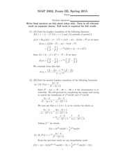 Exam 3 Solution Spring 2015 on Differential Equations
