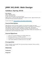 Jmm 341 Docx Jmm 341 640 Web Design Syllabus Spring 2019 Erin Brown Office Wolfson 2011 Phone 305 284 2235 E Mail Erin Dot Brown At Miami Dot Edu Course Hero
