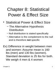 Chapter 8 - Statistical Power and Effect Size