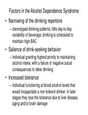Factors in the Alcohol Dependence Syndrome