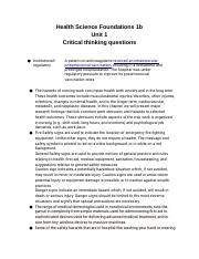 Health Science Foundations 1b Unit 1 Critical thinking questons.docx
