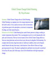 Global Climate Change/Global Warming