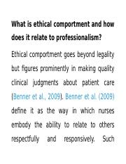 Ethical Comportment Proj   What Is Ethical Comportment And How Does It  Relate To Professionalism Ethical Comportment Goes Beyond Legality But  Figures