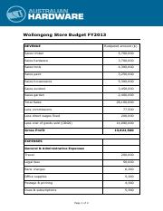 AH_Wollongong Store Budget for FY2013.pdf