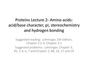 BIOS 452 - Protein Lecture 2 - Amino Acids Spring 2014 - Lecture Notes