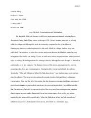 Raymond Carver Research Paper Final