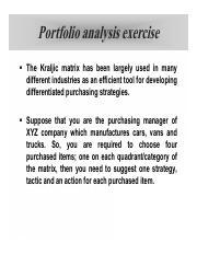 Chapter 3 exercise - Portfolio analysis exercise The Kraljic matrix